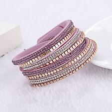 Swarovski Elements Gold Stud & Leather Double Wrap Strap Bracelet Violet