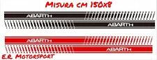 Coppia adesivi laterali Abarth Rossi 150 x 8 cm Fiat 500 Old 600