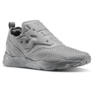 Reebok Furylite Slip On Tin Gray Woven Mens Running Shoes V70818