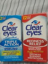 Lot of 2 Clear Eyes Drops  (1) Triple Action and 1 Redness relief 0.5 oz