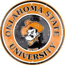 "Oklahoma State University Cowboys Embossed Metal 12"" Circle Sign"