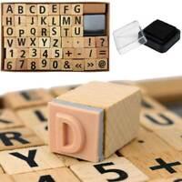 Set di Timbri Legno e Gomma con Numeri e Lettere Alfabeto 49 Pezzi in scatola