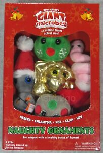 GIANT MICROBES-NAUGHTY ORNAMENTS HOLIDAY THEME BOX-Herpes Pox Clap HPV Chlamydia