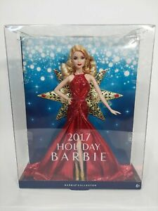 2017 Holiday Barbie Doll Blond Hair Red Gown Gold Star New In Box Collectible