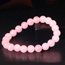 AAA New 8mm Light Pink Gemstone Round Beads Elastic Bracelet For Women Lover