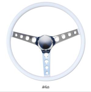 """15"""" Mooneyes 3-Spoke Steering Wheel White Vinyl Finger Grip GS290FGWH w Horn Kit"""