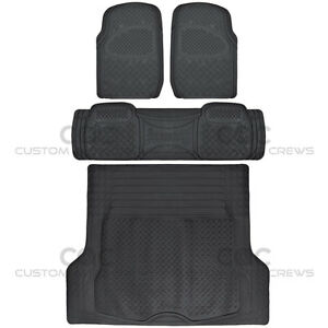 All Weather Car Rubber Floor Mats Max Duty Auto Protection Black Heavy Duty