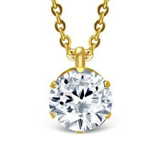 Stainless Steel Gold-Tone Solitaire Prong-Set White Crystal CZ Pendant Necklace