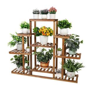 9 Tier Flower Rack Wood Plant Shelf Stand 13 Pots Bonsai Display Shelf Holder