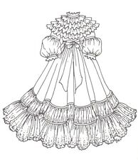 """Period French German Victorian Anique Dress Pattern for 18"""" to 19"""" Doll 316"""