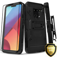 For LG G8 ThinQ Case, Belt Clip Kickstand Phone Cover + Tempered Glass Protector