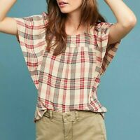 Anthropologie MAEVE Women's XS Tan & Red PRISCILLA Plaid Flutter Sleeve TOP