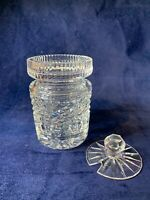 Vintage Beautiful Waterford Crystal Honey Jam Jar with Lid, Signed Marked A605