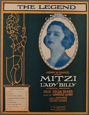 THE LEGEND Sears & Levey LADY BILLY Mitzi Hajos 1920 Theater Sheet Music