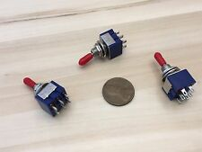 3x Sleeve RED latching 6 Pin ON/ON Toggle Switch 6A 125VAC useless box DPDT A