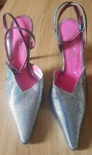 Red or dead silver disco glitter ball ankle strap slingback shoes UK 7 Eur 40 BN