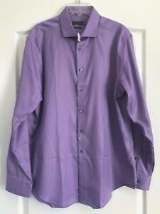 CK Calvin Klein Dress Shirt Non-Iron Purple 80's 2-Ply 17 34/35 XL Slim Fit $89
