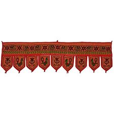 Indian Cotton Embroidered Door Hanging Vintage Patchwork Window Valance Toran