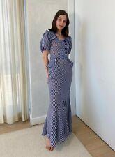 New listing Vintage Original 1930s Blue and White Striped Silk Chiffon Dress, Rare, Size Xs