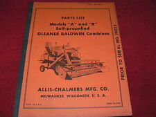 Allis Chalmers A & R Gleaner Baldwin Combines Dealer's Parts Book