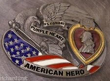 Military Belt Buckle pewter Purple Heart Combat Wounded American Hero NEW