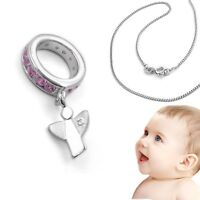 Baby Taufe Memoire Zirkonia Taufring mit Kette Silber 925 Rosè Gold Rotgold