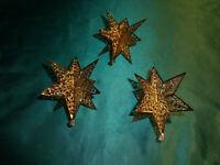 ~ alter Christbaumschmuck Eckartina Metall filigran 3 Sterne 3-D gold Vintage ~