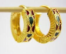 LOVELY THAI LEVER-BACK HOOP EARRINGS 22K 18K Yellow Gold GP Women Jewelry GT14