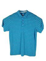 PUMA Dry Cell Mens Short Sleeved Blue Striped Polo Golf Shirt Size XL   a13