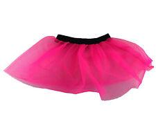 Womens Ladies Girls Hot Pink Neon Tutu Net Skirt 80s Fancy Dress race for life