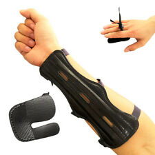 New listing Leather Archery Protector Arm Guard 3 Finger Tab Gear for Bow Hunting Shooting