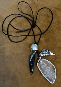 """RET Black Leather Sterling Silvr /""""Multi-Ring Charm/"""" Necklace SILPADA N2479"""