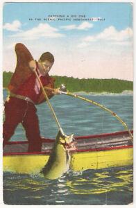 Pacific Northwest Catching a Big Fish Vintage Postcard