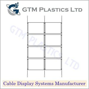 Cable Window Estate Agent Display - 2x4 A3 Landscape - Suspended Wire Systems