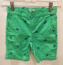 Children's Place Boys Shorts Green Chino with Blue Sharks Adj Waist Size 5
