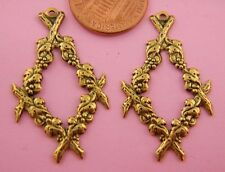 Antique Brass Floral Earring Findings-2 Pc(s)