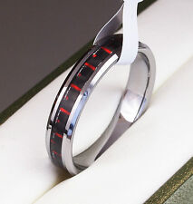BOXED Genuine Tungsten Carbide Ring Inlay Mens Wedding red size M O Q S T W V