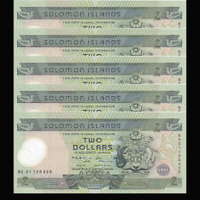 Lot 5 PCS, Solomon Islands 2 Dollars, ND(2001), P-23, Polymer, COMM., UNC