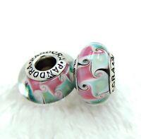 2 PANDORA Silver 925 ALE Murano Charm Pink Green Swirl Belt Beads #246