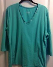 Denim & Co. 3/4 Sleeve V Neck Knit Top in Size Large