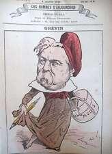 AL. GREVIN SCULPTEUR CARICATURISTE CARICATURE GILL LES HOMMES D'AUJOURD'HUI 1878