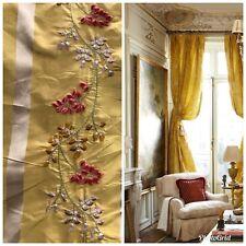 SALE! 100% Silk Taffeta Interior Design Fabric Embroidery Antique Mustard Yellow
