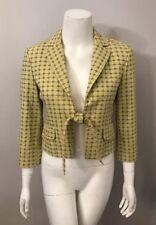 BCBG Max Azria Green Pink Embroidered Tie Front Cotton Blazer Jacket Size S