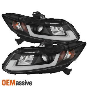Fits 12-15 Honda Civic Black Light Bar/Tube Design DRL LED Projector Headlights