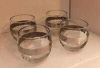MCM ROLY POLY ANTIQUE CAR Design Mid-Century Bar Ware. Silver Band. 4 glasses.