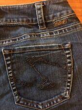 Womens Silver Suki Jeans SZ 30/32 Western Glove Works Dark Wash Boot Cut Stretch