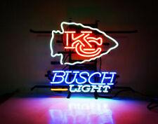 """New Busch Light Kansas City Chiefs Beer Bar Neon Sign 20""""x16"""" Real Glass Decor"""