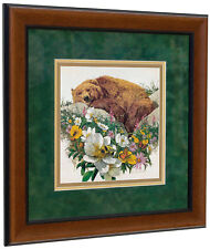 BEV DOOLITTLE 'WSS' Bugged Bear Matted & Framed Fine Art Print