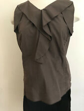 Marni Taupe Brown V Neck Ruffle Blouse-Architectural Beauty-40-$485