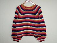 1980s Y2K Balloon Sleeve Oversized Chunky Funky Multi Striped Jumper 12 14 16